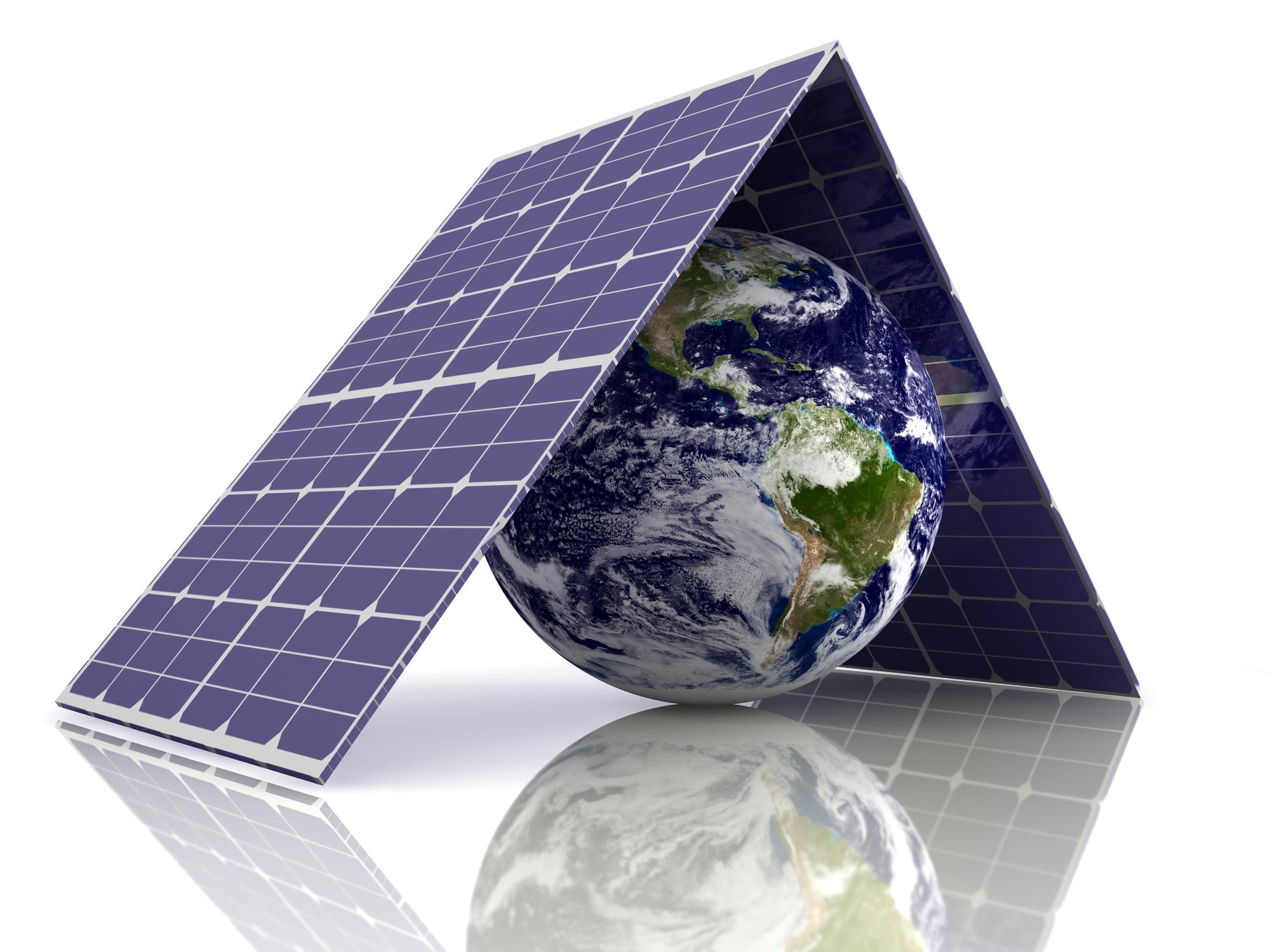 solar panels over earth